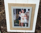 Picture Frame, 8x10 Picture Frame, Distressed Picture Frame, Burlap Frame, 8x10 Frame, Mother's Day Gift, Wood Plank Frame