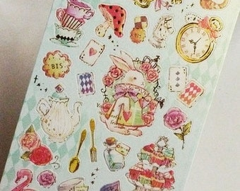 DIY Diary Scrapbook Sticker Label Retro Alice in Wonderland
