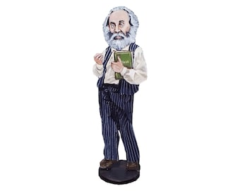 Walt Whitman Hand Painted 2D Art Figurine
