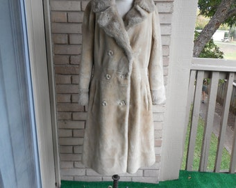 Vintage Beige Faux Fur Princess Coat 70s Borgana Styled by Russel Taylor Size Small Medium