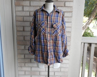 Vintage Brown and Blue Plaid Long Sleeved REI Co-op Flannel Shirt 80s