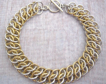 Chain Maille Bracelet Bright Aluminum Jewelers Brass