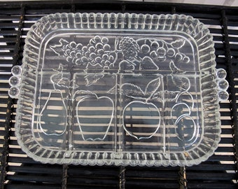 "Vintage 90's pressed glass partitioned rectangular serving plate 9""x11"""