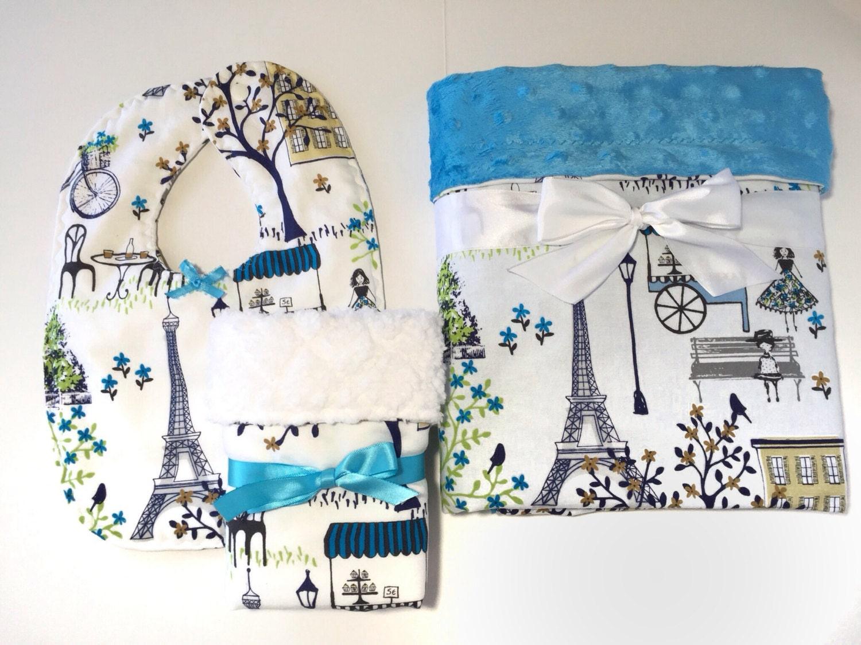 Paris themed gift set baby girl blanket