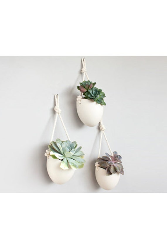 Set of 3 porcelain and cotton rope hanging planters