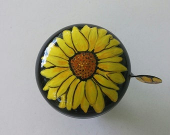 sunflower bicycle bell hand painted bike art flower bicycle accessories cycling accessory