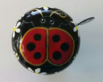 ladybug bicycle bell hand painted unique cycling gift bike art custom  original design insect urban trail cycle cyclist biker daisy