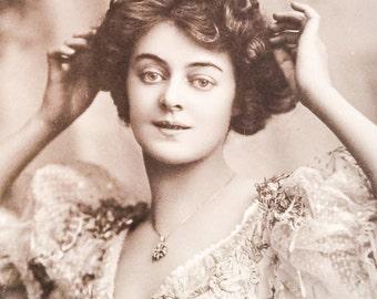 Antique Edwardian Postcard, Adrienne Augarde, British Actress, 1907 WINTER SALE
