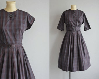 Vintage 50s Dress with Jacket / 1950s L'Aiglon Blue Plaid Cotton Day Dress with Pleated Skirt Cropped Jacket