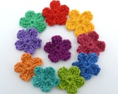Crochet appliques, crochet flowers, 10 small applique flowers, cardmaking, scrapbooking, appliques, craft embellishments, sewing accessories