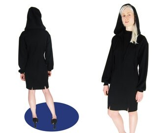 CLAUDE MONTANA Black Hooded Minimalist Wool Dress