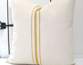 Grainsack Pillow / French Country Pillow /Yellow Pillow/Lakehouse Pillow / Beach house Decor /Beachy Pillow