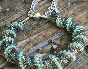 Cellini Spiral in Teal and Aquamarine