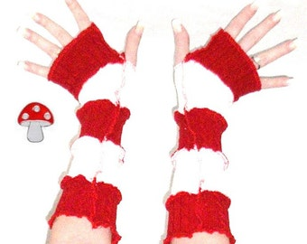Candy Cane Christmas Arm Warmers Fingerless Gloves Mrs Santa Mittens Soft Cozy Cable Knit Patchwork Warmies
