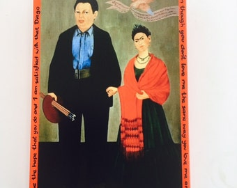 Frida Kahlo Wall Tile Plaque I Love You - Cadmium Red