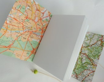 Travel Diary Map Journal, Travel Gift, Travel Sketchbook scrapbook, Bucket List, Memory Journal,  Wedding Anniversary Gift, Leather Notebook