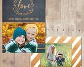 Joyful Christmas Gold Holiday Card Custom Photo Card 5x7 Professionally printed cards or Printable