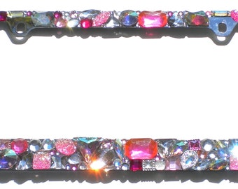 Chunky Jewel Custom Mix PINKS with AB and Clear Crystal Rhinestone License Plate Frame Diamond Bling Sparkle Bedazzle