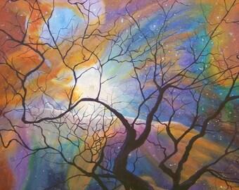 Space Nebula Art Print Galaxy Star Tree - Orion's Nebula Painting - Original Artwork - Cosmos Stardust Rainbow Colorful Print Photo