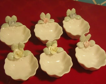 Vintage Bone China Salt Cellars Pastel Flowers Set Of 6 Ardalt Made In Taiwan 1960s