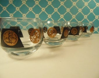 Mid Century Coin Roly Poly Glasses - Set Of 4 - 2 Oz. - 22K Gold - Cera