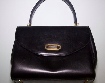 Vintage Authentic Bally Black Leather Handbag