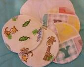 6 reusable flannel cotton nursing pads for bra A B C D DD nursing breastfeeding - baby giraffe in ivory