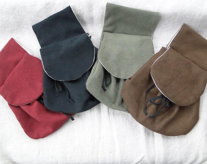 Renaissance Belt Bag, Suede Fabric, Womens Medieval Purse - Choose Your Color!