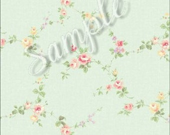 "Dollhouse Miniature Wallpaper, ""Spring"", Scale One Inch, Pretty Feminine Contemporary Romantic Floral, Scale One Inch"