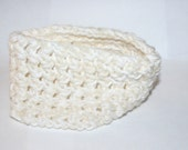 Chunky Ear Warmers Cream White Crocheted Toddler Scarf Girl Boy Child Easy On Off Accessory Handmade by CzechBeaderyShop