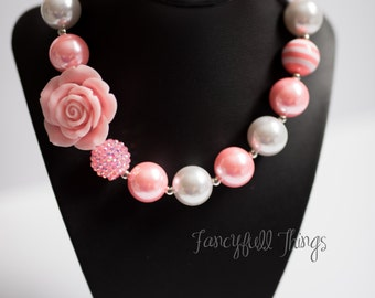 Pink and white chunky bubblegum necklace