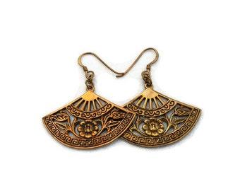 Vintage 1980's Bronze Fan Earrings