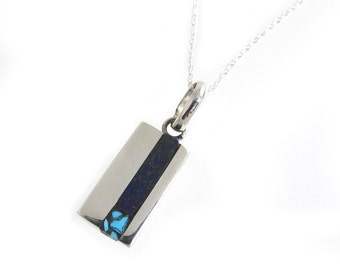 Small Lapis and Turquoise Pendant - Small Vertical Bar Pendant - Cute Inlay Pendant - Blue Stone Bar Pendant - Petite Necklace Pendant Small