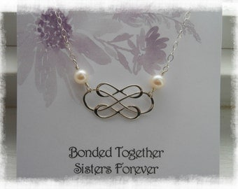 Sister Necklace,Infinity Necklace with Pearls,Sister Gift,Sterling Silver Triple Infinity Bonded Together,Maid of Honor Gift