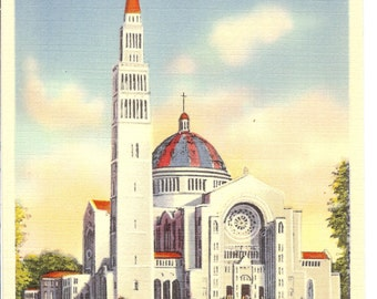Vintage LInen Postcard...National Shrine of the Immaculate Conception, Washington, D.C....Unused...no. 3480