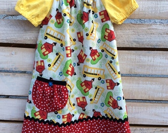 School Time Peasant Dress, Peasant Dress, School Themed Peasant Dress
