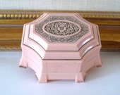 Vintage Art Deco Pink Ring Box Celluloid Ring Holder Display Box Wedding Ring Box