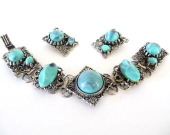 Book Chain Bracelet and Earrings Set Turquoise Lavender Color Lucite Stones Demi Parure Vintage Silver Tone Metal from TreasuresOfGrace