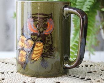 Vintage Artisan Owl Ceramic Coffee Cup