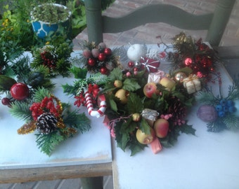 Mixed Lot Christmas Greenery Picks and Large Candle Ring, Vintage Crafting Supplies