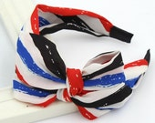 fabric women headband, chiffion colorful stripe hairband, for women, bandeaux hair accessories, christmas sale, gift for her, US flag color