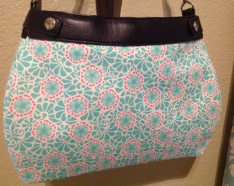 Lily P. Inspired Washed aqua and hot pink Suite skirt purse cover quiltologie fabric suite purse cover handmade thirty one