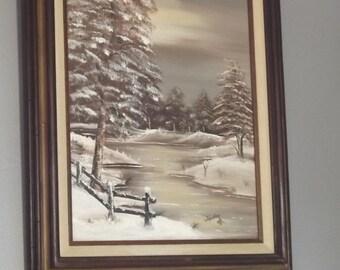 MOVING SALE Original Oil Painting Wintry Scene J Fowler 1980