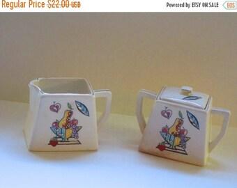 AUGUST SALE Vintage Ceramic Deco Style Sugar and Creamer Set