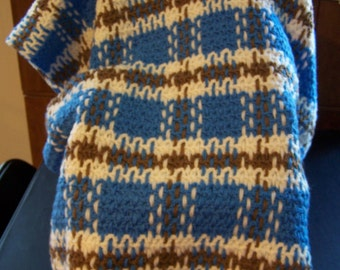 Baby Boy Afghan, Baby Boy Blanket, Blue and White Woven Baby Blanket, Crib Blanket, Stroller Blanket,