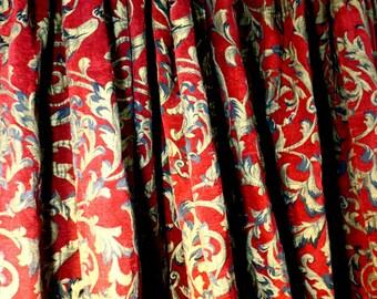 "Drapes, French Toile Burgundy Velvet 2 Panels w Tie backs Curtains for Royalty 60 "" w x 80"" ea"