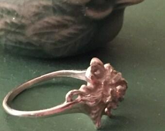 Sterling Art Noveau flower ring