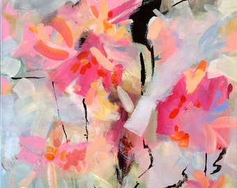 """Pink abstract art, original painting, contemporary art, modern art, expressionist, acrylic painting, wall decor, floral, gray,  24"""" x 18"""""""