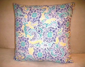 Blue Pillow Cover Turquoise Yellow Abstract Floral Flower Batik Boho Bohemian Shabby Chic Farmhouse Cottage