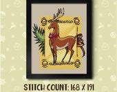 Decorated Reindeer Cross Stitch Pattern - Instant Download PDF - Modern Cross Stitch Design
